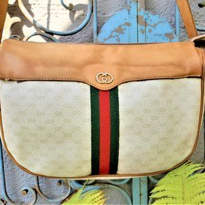 GUCCI VINTAGE OPHIDIA LEATHER CROSSBODY BAG